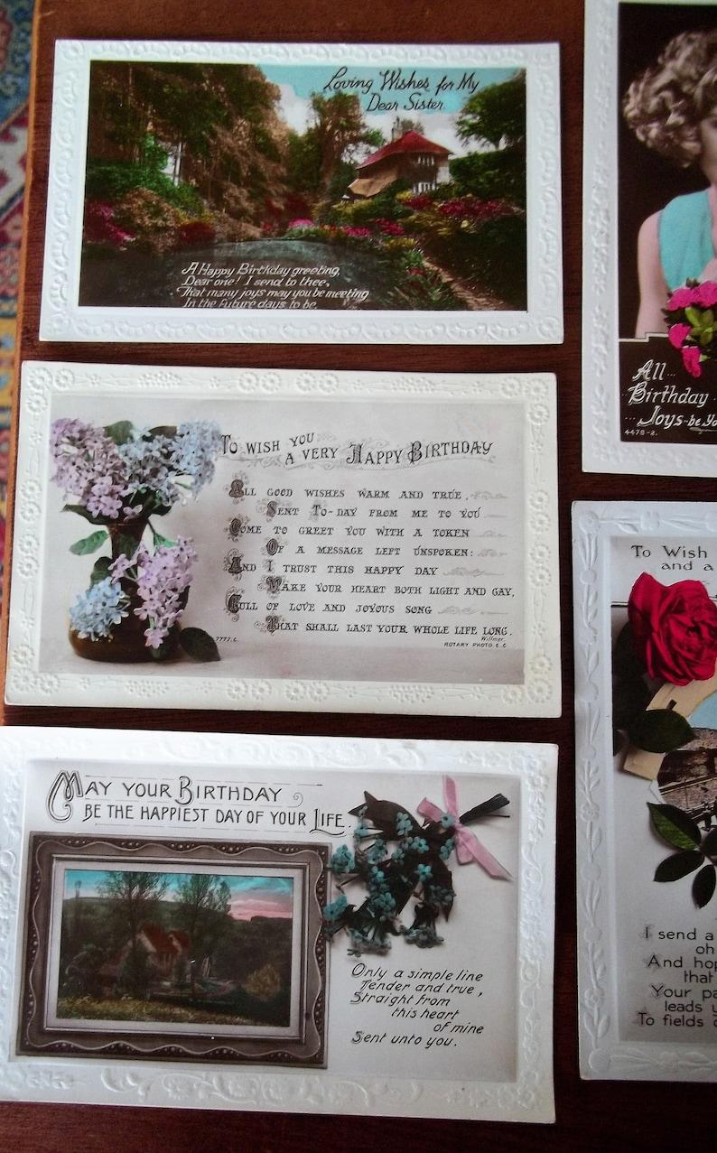 lot 1 BIRTHDAY GREETINGS LOT of 10 c1910-30 Vintage Postcards
