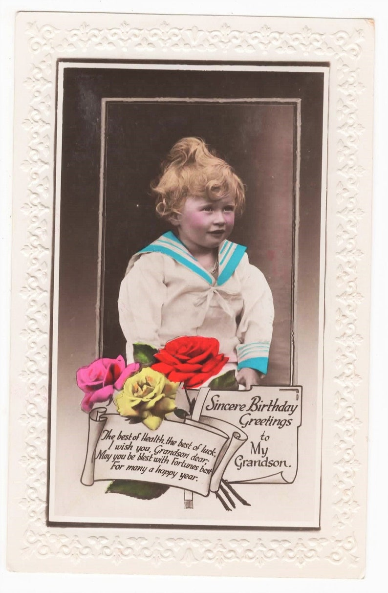 CHILD in Sailor Suit Vintage BIRTHDAY Real Photo Postcard Grandson c1920s Curly Hair