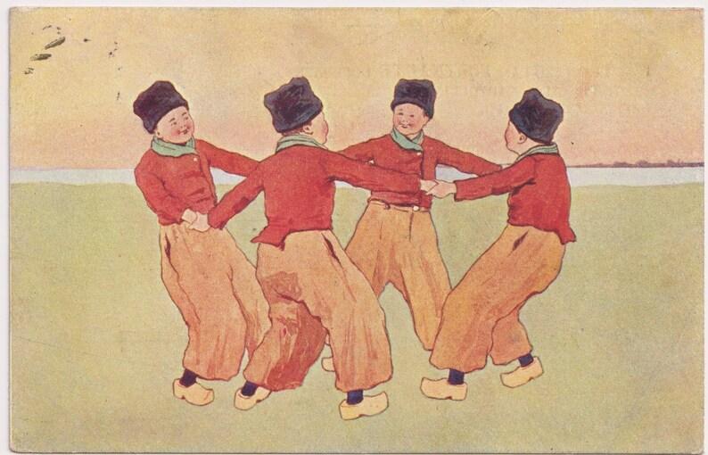 BKWI 648-8 Vintage Artist  Postcard DUTCH BOYS Dance in Circle c1905 Traditional Costumes