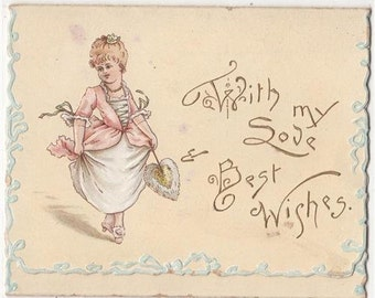 Sweet little GIRL and FAN, Folded Victorian Greetings Christmas Card,c1890s,