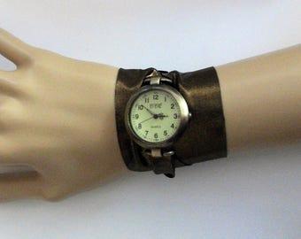 Wrap watch, wrap around wrist watch, bronze Lycra ribbon strap and big round vintage style watch, exclusive design watch by WrapWatches