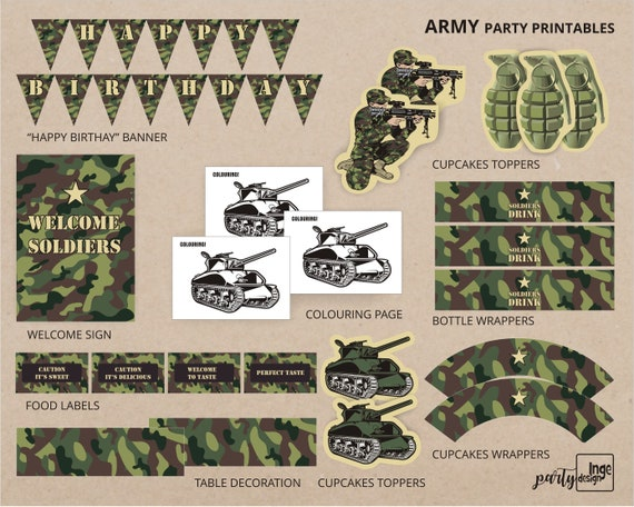 Soldiers Camouflage Printable Diy Birthday Party Etsy