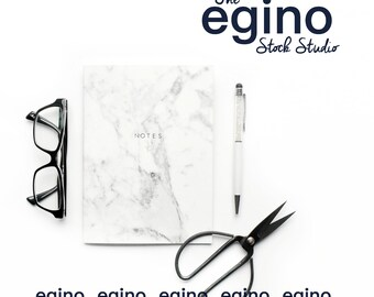Styled Stock Photography Desktop & Workspace - Marble Notebook