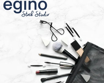 Styled Make-Up Artist Stock Photography - Workspace on Marble