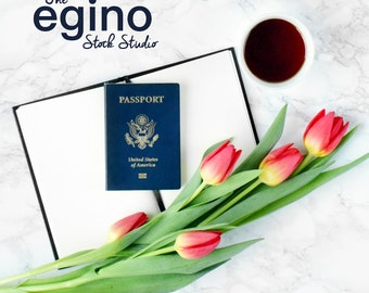 Styled Stock Photography Desk Square - Tulips & Passport on Marble