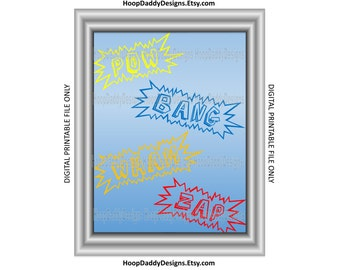 Kids Superhero Comic Text Digital Print, Printable Design