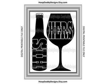 His and Hers Beer and Wine Digital Print. Printable Design