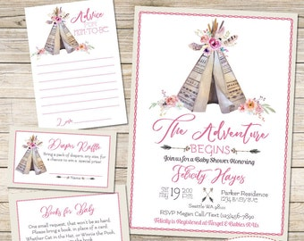 Tee Pee Baby Girl Shower Invitation and Matching Inserts, The Adventure Begins Baby Shower Invite, Boho Baby Shower Invitation