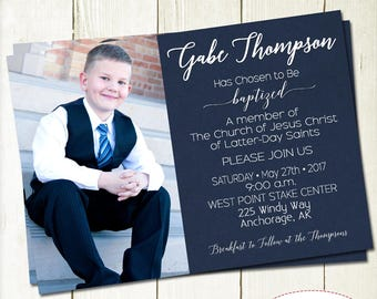 LDS Boy Baptism Invitation with Picture, LDS Baptism Invite, Full Picture Invite