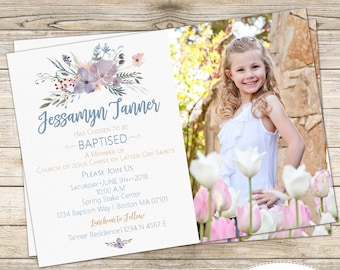 LDS Girl Baptism Invitation, Watercolor Baptism Invitation, Watercolor Flowers Invitation, LDS Baptism Invitation
