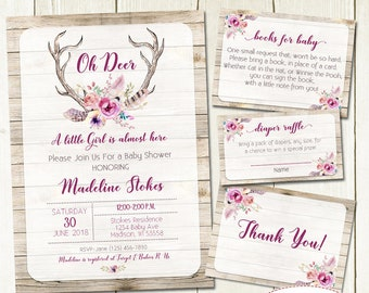 Oh Deer Baby Shower Invitation and Matching Inserts, Baby Girl Shower Invite, Watercolor Antlers Invitation