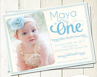 First Birthday Invitation, Birthday Invitation with Picture, Number Birthday Invite