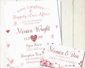 Bridal Shower Invite & Registry Insert, Watercolor Hearts Invitation and Insert, Love and Laughter Bridal Shower Invite