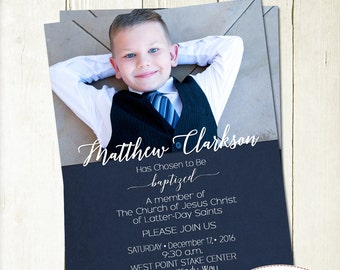 Boy Baptism Invitation with Picture, LDS Baptism Invite, Full Picture Invite