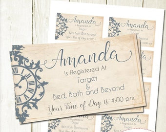 Bridal Shower Invitation Inserts, Vintage Around the Clock Shower Inserts, Printable Inserts