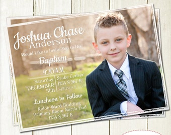 LDS Boy Baptism Picture Invitation, Full Picture Invite, LDS Baptism Invitation