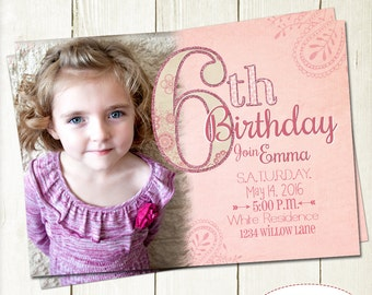 Girl Birthday Invitation with Picture, Number Invite, Glitter Birthday