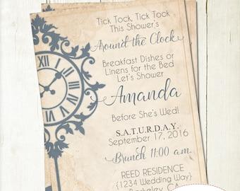 Around the Clock Bridal Shower Invitation Printable, Vintage Wedding Shower, Elegant Clock Bridal Shower