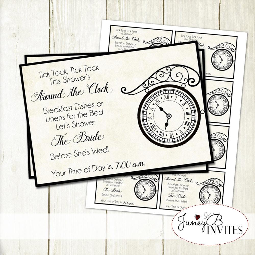 Around the Clock Wedding Shower Insert Vintage Bridal Shower | Etsy