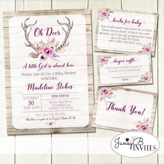 Oh deer baby shower invitation set baby girl shower invite etsy image 0 filmwisefo