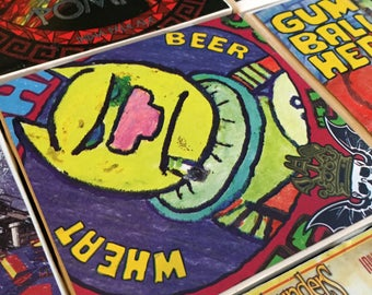 Craft Beer Ceramic Tile Coasters - Set of 4