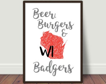 Wisconsin Badgers Printable/Poster/Sign
