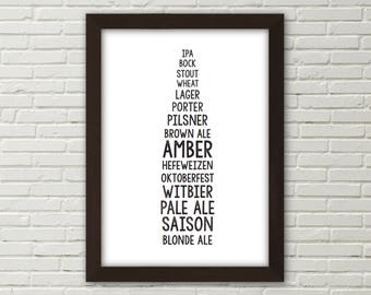 Different Kinds of Beer Printable | Beer Sign | Craft Beer Gifts | Beer Lover Gifts | Kitchen Decor | Home Bar Poster