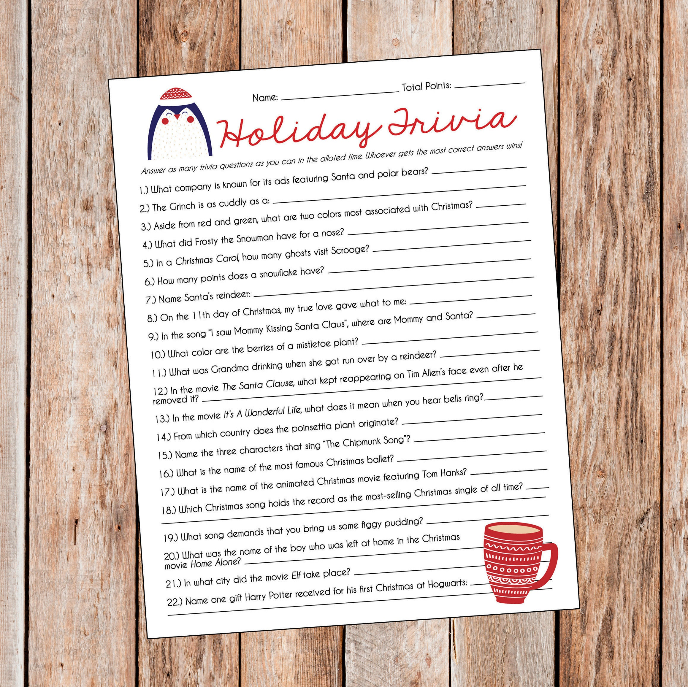 Fun Christmas Trivia Printable Christmas Trivia Questions Answers