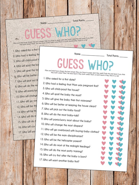 FF02 Pink and Gray Personalized Unique Custom Baby Shower Games Mom or Dad Quiz