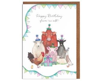 Childrens Card Farm Birthday Card Nephew Birthday,PERSONALISE First Birthday,Grandson Birthday HAND ILLUSTRATED Farm pop-up card