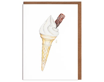 Ice Cream Blank Card- Birthday Card - Note Card - Card for her - card for him