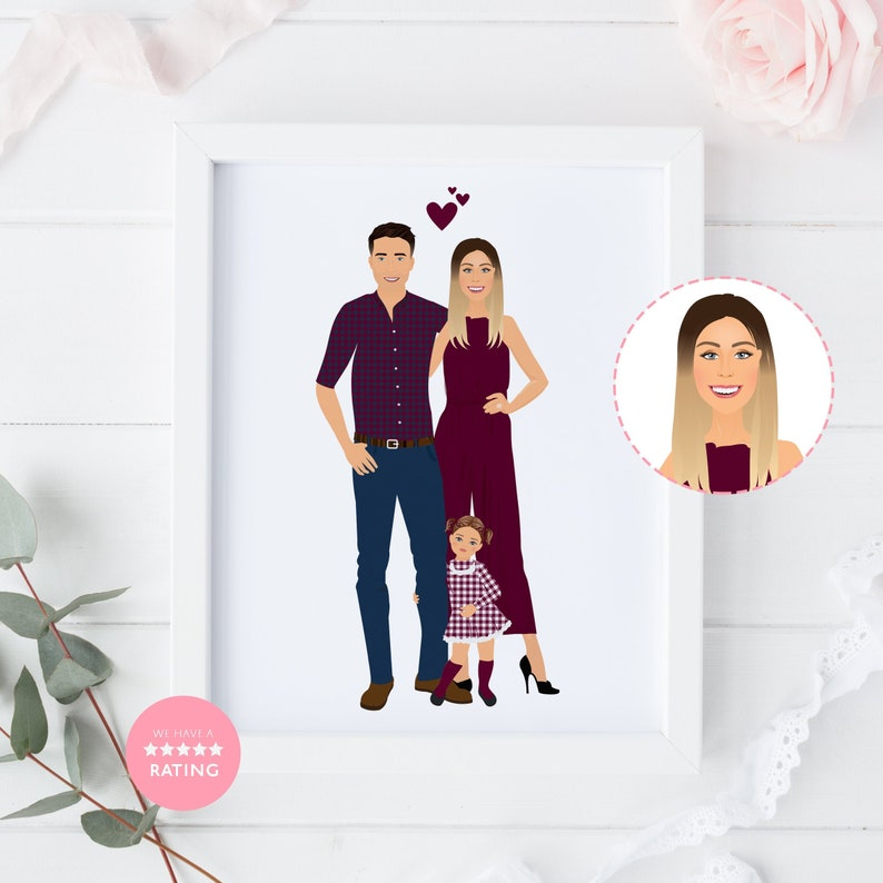 Family Portrait Custom Portrait Personalised Gift Wall Art 3