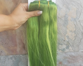 Green Clip In Extensions Human Hair