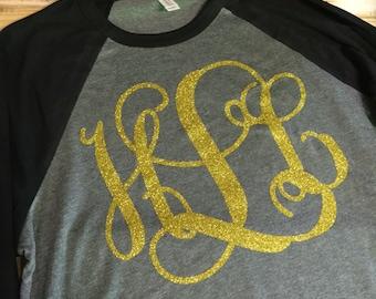 Monogrammed Raglan baseball t-shirt
