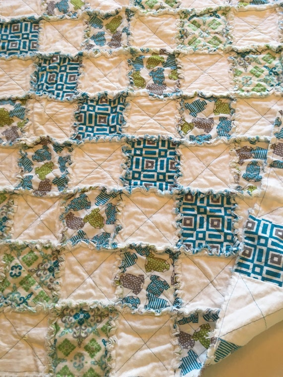 Flannel Rag Quilt Turquoise Gray White Lime Green Baby