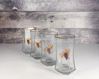 4cd2a878417 Octagon shaped drinking glasses - grape vine motif