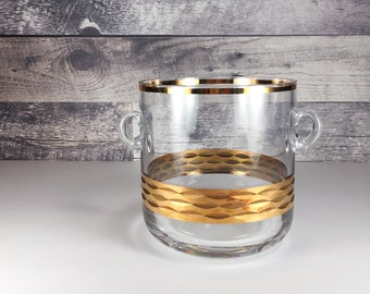 Vintage gold glass bowl   small ice bucket   serving bowl