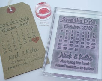 save the date stamp etsy