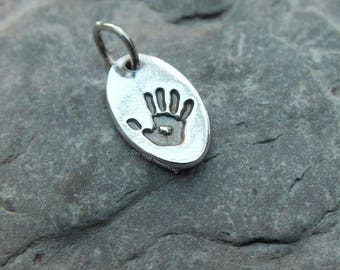 Pure Silver Handprint Small Charm