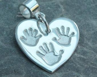 Pure Silver Handprint Charm