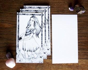 Art drawing print, Magic girl, Postcard,illustration