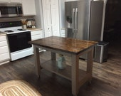 Farmhouse Kitchen Island - Rustic Kitchen Island - Wood Kitchen Island - Portable Kitchen Island - Custom Kitchen Island - Farmhouse Island