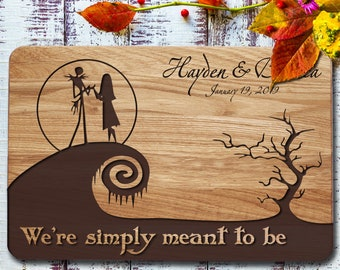 Natural Finish Personalized Simply Meant To Be First Name Jack and Sally Wooden Round Ring Bearer box Nightmare Before Christmas