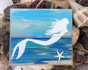 Wood Mermaid Sign - Mermaid Decor, Mermaid Pallet Art, Upcycled Mermaid Decor