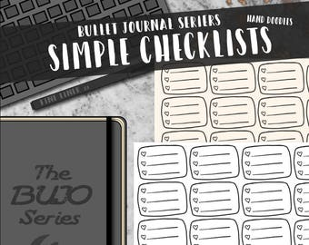 Simple Doodle Heart Checklist - The BUJO Series. Minimalist Hand-drawn stickers for bullet journals, travelers notebooks, and planners.