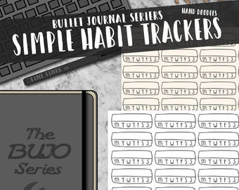 Simple Doodle Habit Tracker - The BUJO Series. Minimalist hand-drawn stickers for bullet journals, travelers notebooks, and planners.