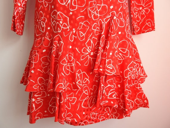 Vintage 1980s Silk Print Long Sleeved Red Dress S… - image 8