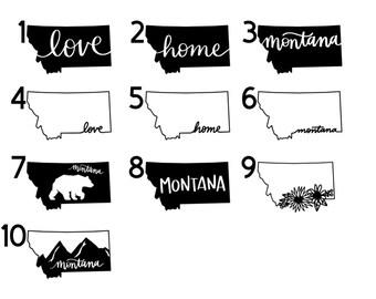 Montana State Outline Vinyl Sticker・Cursive State Vinyl Stickers・vsco Stickers・ Montana Gift・Montana Present・Montana Decals・Waterproof Stickers・Water Bottle Stickers