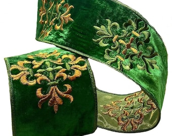 2 Colorways LUXE Designer Ribbon: 4 X 10yds Jacquard Metallic Floral Design In Blue Green Wire Edge Copper /& Gold Full Roll