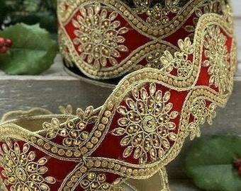 4 X 5yds Ribbon-Garland Wired LUXE Designer Ribbon Embroidered Gold PEACE Letters On Gold Lam\u00e9 Center wGold Flourish Cut-Out Design